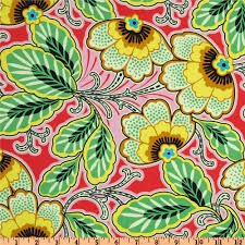 amy butler lark glamour floral couture berry from fabricdotcom