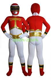 power ranger kids costume red gold spandex lycra catsuit