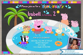 peppa pig pool party birthday invitation with or without photo