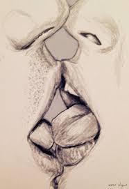 drawn sketch lip kiss pencil and in color drawn sketch lip kiss