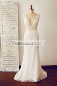 fitted wedding dresses fitted v neck sheer illusion back lace wedding dress