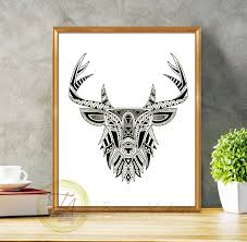 Modern Wall Art Black And White Prints Black And White Art Deer Black And