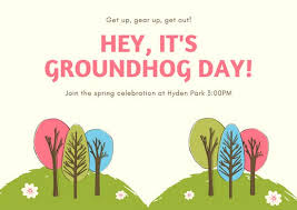 groundhog day cards and green tree graphics groundhog day card templates by canva