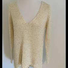 Gold Sequin Cardigan 76 Off Zara Sweaters Gold Sequin Cream V Neck Sweater