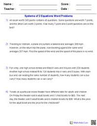 systems of equations word problems worksheet free worksheets