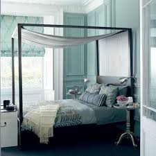 Mirrored Canopy Bed Turquoise Blue Tone On Tone Bedroom Design With Turquoise Blue