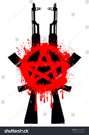 Flag With Ak 47 Vector Illustration Two Ak 47 Symbol Stock Vector 458414824