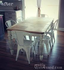 farmhouse table with metal chairs pretty distressed the making of a farmhouse table