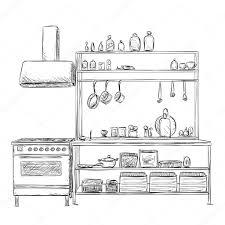 kitchen cupboard furniture sketch u2014 stock vector yuliia25