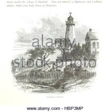 lighthouse hand draw illustration old paper background with stock