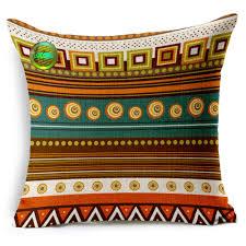 set 5 bohemian design pattern stripe square throw pillow cover
