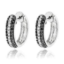 black diamond hoop earrings black and white diamond hoop earrings 0 64ct 10k gold
