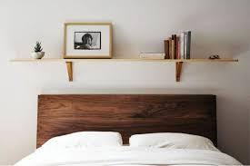 Diy Bookshelf Headboard Bedroom Elegant Solid Wallnut Headboard Design With Diy Shelving