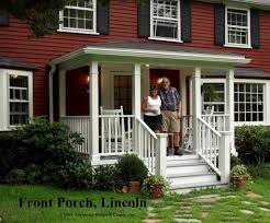heres a traditional porch on the front of a classic new england