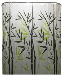 Oriental Shower Curtains White Black Green Bamboo Leaves Shower Curtain Polyester Fabric
