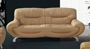 Curved Contemporary Sofa by Beige Leather Modern Elegant Sofa With Curved Armrests