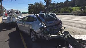 build a volvo truck tesla model s gets rear ended by a semi truck driver walks away