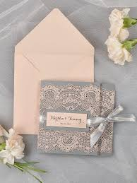 vintage lace wedding invitations grey and lace wedding invitation pocket fold wedding