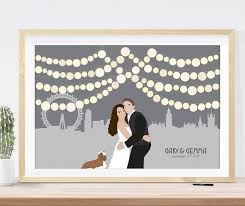 wedding guest sign in book custom wedding sign with london skyline wedding guest book