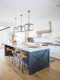 blue kitchen island with oak cabinets pin by t w on whaley project kitchen design farmhouse