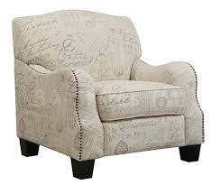 accent chairs beige newspaper print wing chair with arms and