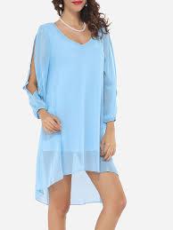 hollow out plain seethrough lovely graceful v neck shift dress