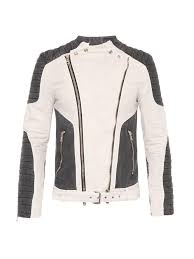 biker jacket sale balmain bi colour cotton biker jacket in white for men lyst