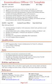 Interest And Hobbies For Resume Samples by Examinations Officer Cv Template Tips And Download U2013 Cv Plaza
