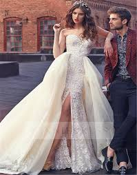 wedding dress with detachable shop discount detachable gown high slit sleeveless lace