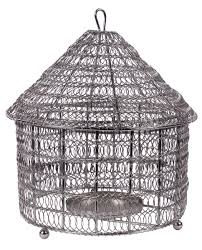 caged hanging tea light holder candle stand in metal mesh