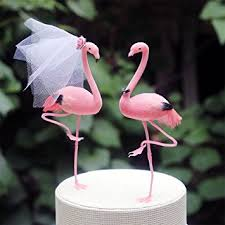hochzeitstorte aus gips flamingo pink kuchendekoration braut und bräutigam für