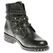 womens wide motorcycle boots womens ankle boots ladies studded buckle biker strappy diamante