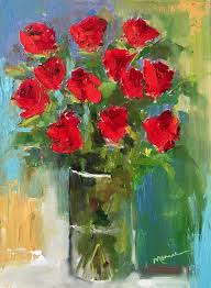 painting by the lake a dozen roses sold