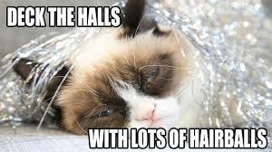 Grumpy Cat Memes Christmas - deck the halls with lots of hairballs funny grumpy cat meme image