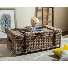 Wicker Trunk Coffee Table Safavieh Navarro Rattan Gray Coffee Table Trunk Sea7022b The