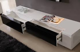 long modern low profile plasma tv console with large double drawer long modern low profile plasma tv console with large double drawer painted with black and white color decoration ideas