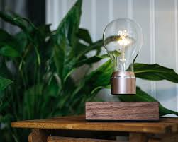 Levitating Light Bulb by Flyte Buckminster 2 0 U2013 Walnut Wood Cartoni Design