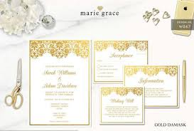 wedding invitation templates gold damask