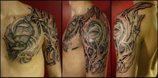 newest biomechanical half sleeve tattoo for men photo 4 2017