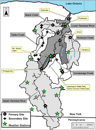 Map Of Letchworth State Park by The Genesee River Watershed Showing Locations Of Weather