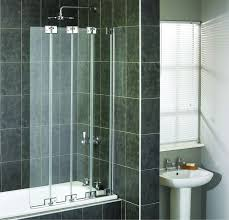 aqualux polished silver aqua 6 clear glass 4 fold bath screen