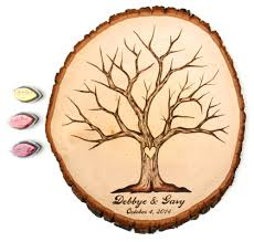 fingerprint tree design wood slice rustic theme wedding guest
