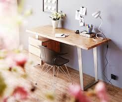 Schreibtisch 130 Cm Bürotisch Live Edge Akazie Natur 147x62 Massiv Baumkante 3 Schübe