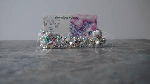 Bling Business Card Holder Elegant Clear Aurora Borealis Business Card Holder Office Salon