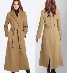 Womens Winter Coats Plus Size Women Winter Wool Long Coat Camel Cashmere Coat Slim Turn Down