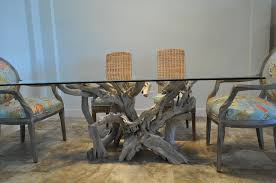 glass top tables driftwood decor
