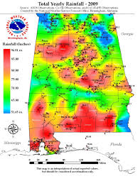 Rainfall Map United States by Alabama 2009 Annual Rainfall