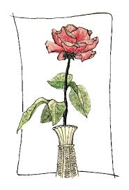 Vase Of Flowers Drawing Drawn Vase Rose Pencil And In Color Drawn Vase Rose