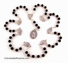 seven sorrows of servite rosary in black onyx by
