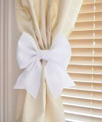 Curtains With Ribbon Ties White Bow Curtain Tie Backs Two Decorative Tiebacks Curtain